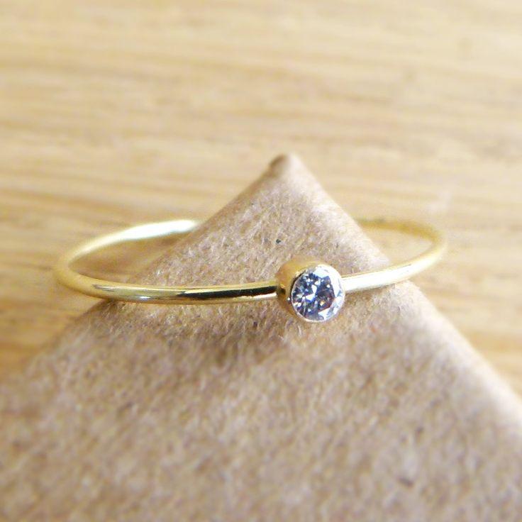 Diamond Engagement Ring - Diamond Gold Ring - 14k Solid Gold. $152.00, via Etsy.