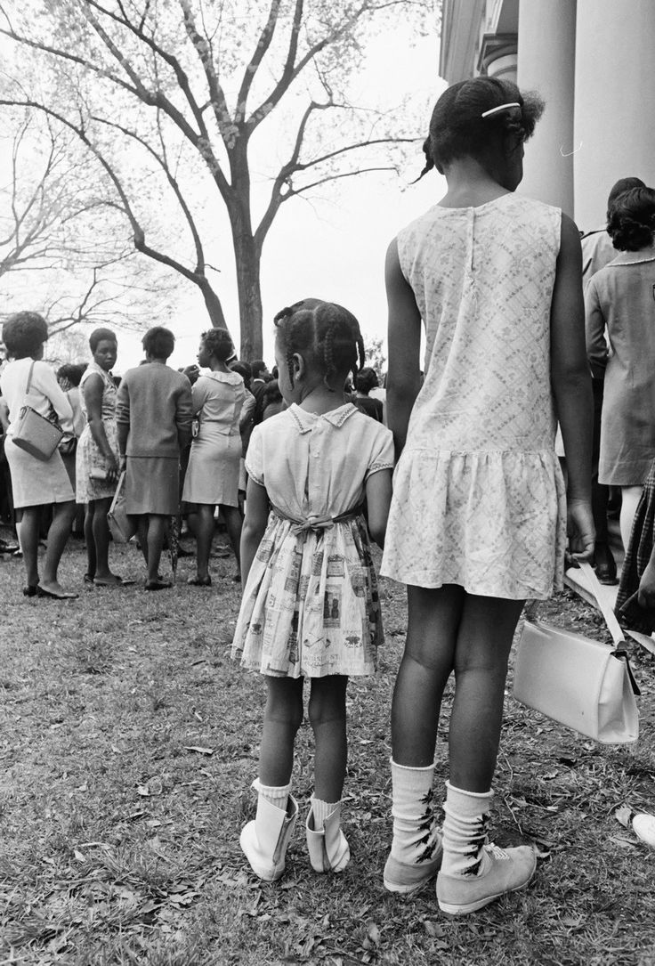 Martin Luther King, Jr. - Mourners at the first of  two funeral services on April 9, 1968 in Atlanta, Georgia, this first was held for family and close friends at Ebenezer Baptist Church, where King and his father had both served as senior pastors.