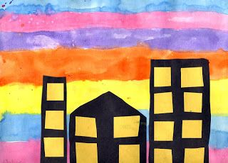 Silhouette City Scape With Sunset Background Art Project