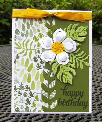 Krystal's Cards: Botanical Blooms Plumeria #stampinup #krystals_cards #botanicalblooms #onlinecardclass
