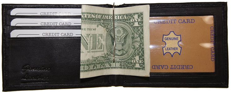 Improving Lifestyles Leather Mens Wallet Bifold Money Clip Black credit card window ID FREE Organza Bag SUN1292BK -- See this great product.