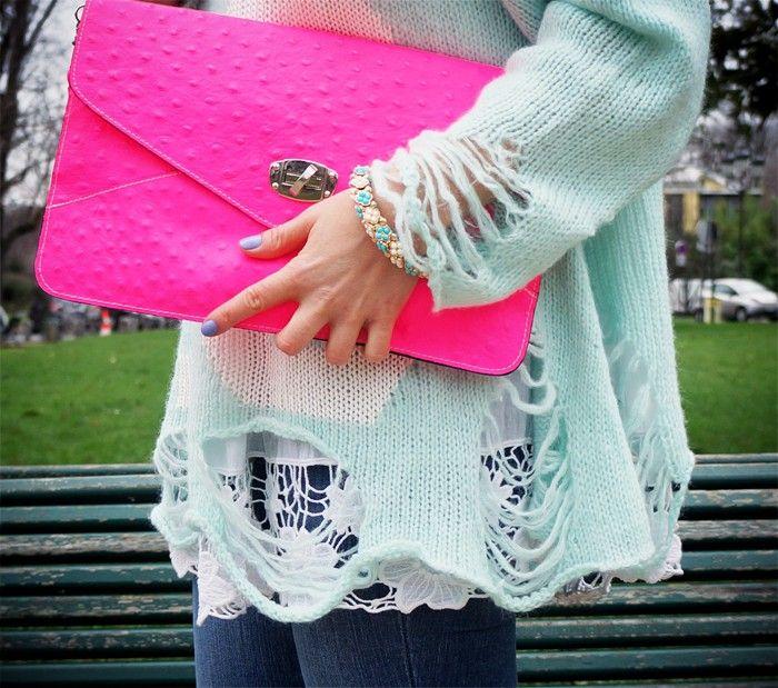 Wildfox sweater x neon clutch