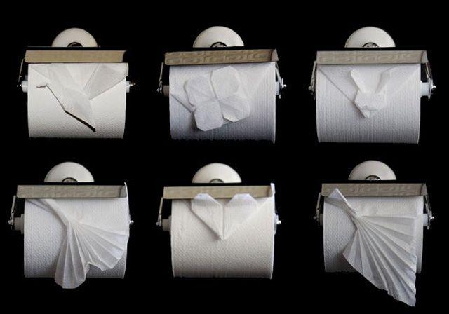 Tolegami. Toilet paper origami.