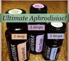doTerra ultimate aphrodisiac 1 drop Grapefruit 2 drops Clary Sage 3 drops Juniper Berry