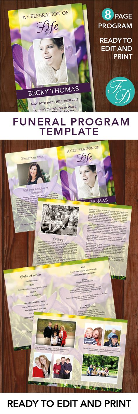 147 best 8 Page Funeral Program Templates images on Pinterest - funeral template download