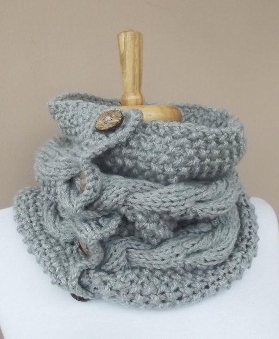 Maglia scaldacollo Cowl uomini donne sciarpa cavo Knit pulsante sciarpa maglia cappuccio Infinity maglia sciarpa grigio uomini sciarpa scegliere la sciarpa di uomini di colore