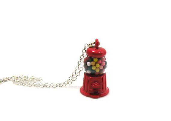 Gumball Machine Necklace, Gumball Machine Charm, Gumball Machine Jewelry, Candy Machine Necklace, Bubble Gum Necklace, Gumball Charm