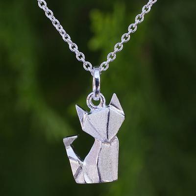 Unique Sterling Silver Origami Motif Fox Pendant Necklace - Origami Fox | NOVICA