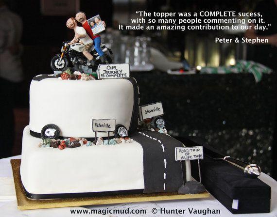 Gay Men Wedding Cake Topper    Gay Men's Wedding Cake Topper custom created for you!     $235   #magicmud   1 800 231 9814   www.magicmud.com