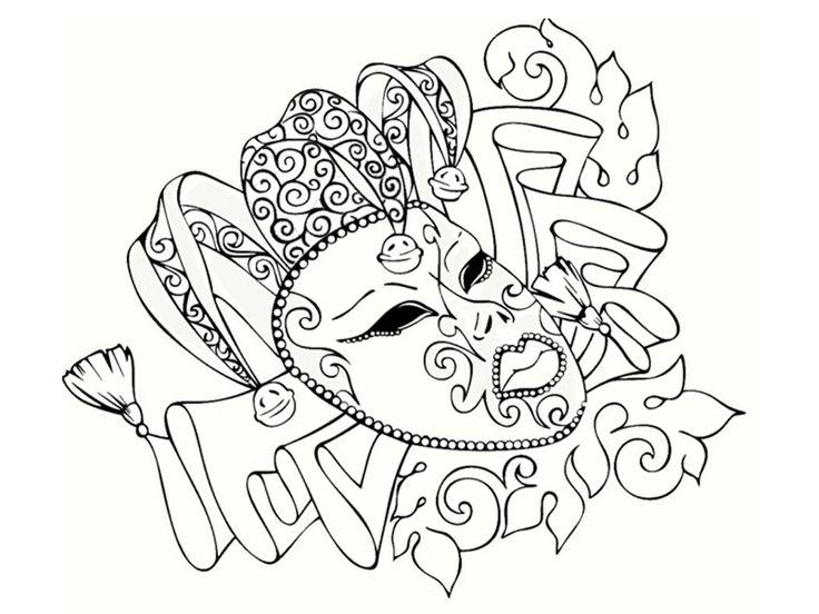 Beau masque de carnaval à colorier. A vos crayons !