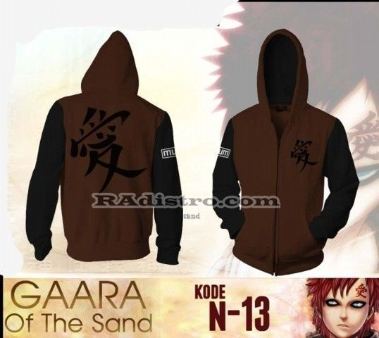 jual jaket anime online murah naruto (N 13) GAARA