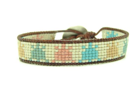 Turtle Beaded Loomed Leather Wrap Bracelet by jlktreasures on Etsy
