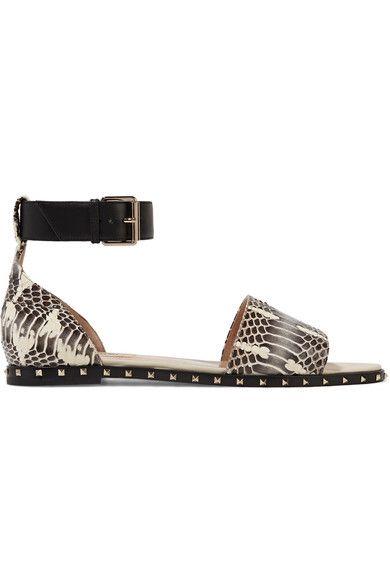 Valentino - Rockstud Leather-trimmed Snake Sandals - Neutral - IT