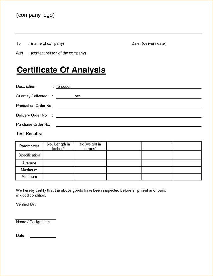 4 Free Sample Certificate Of Analysis Coa Templates
