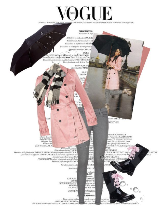 """Rainy Days and Monday's..."" by deeann ❤ liked on Polyvore featuring J Brand, Alexander McQueen, RED Valentino, Burberry, skinny jeans, umbrellas. piped raincoat, burberry scarf and valentino rain boots"