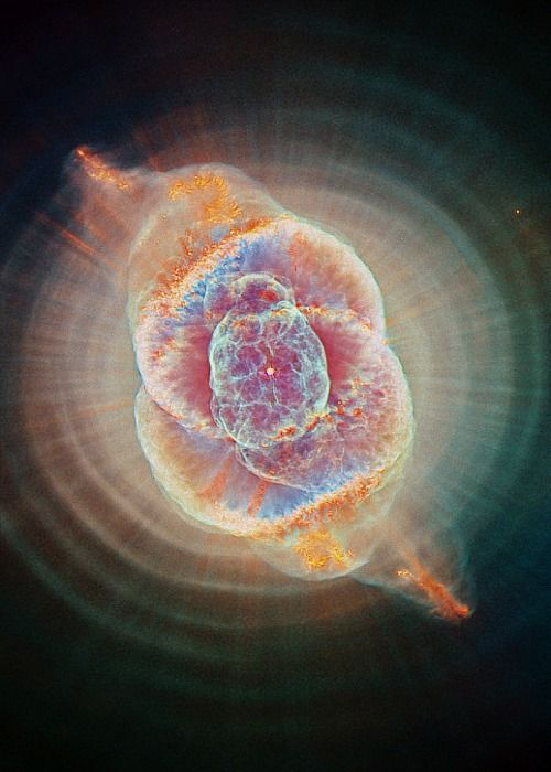 Cat's Eye Nebula ...Cosmos is a Greek word for the order of the universe. It is, in a way, the opposite of Chaos. It implies the deep interconnectedness of all things. It conveys awe for the intricate and subtle way in which the universe is put together by the hand of Almighty God.