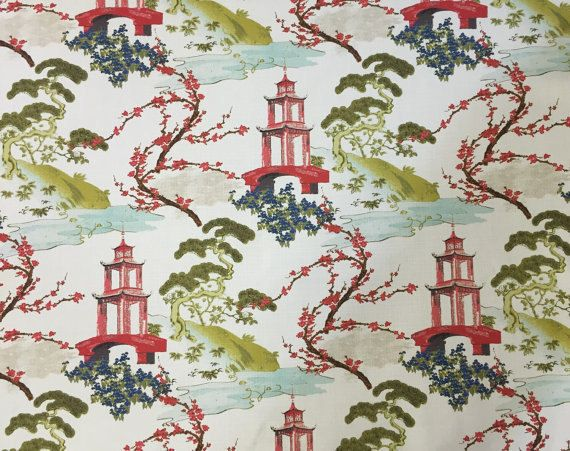 Pagoda Fabric Zen Asian Upholstery Fabric by ShopMyFabrics