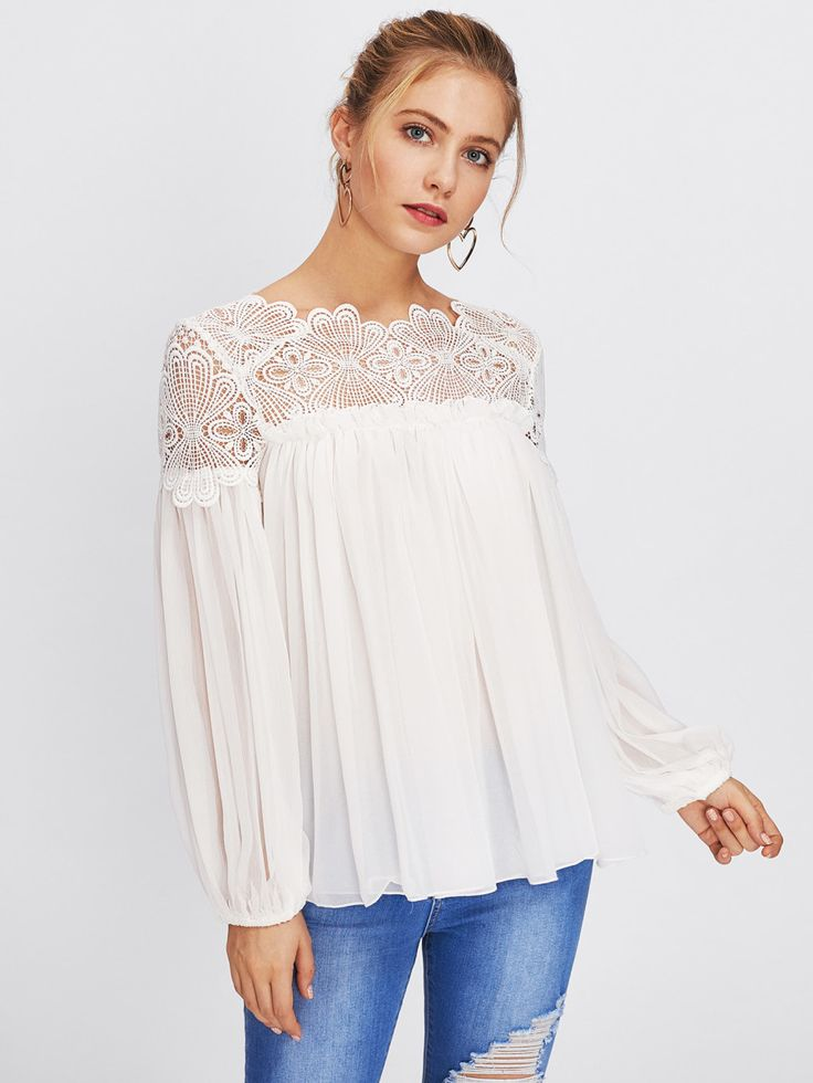 Shop Guipure Lace Yoke Semi Sheer Smock Top online. SheIn offers Guipure Lace Yoke Semi Sheer Smock Top & more to fit your fashionable needs.