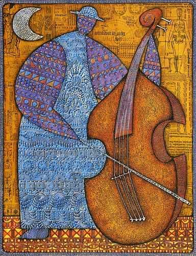 """Contrebasse, 90x70"" by Wlad Safronow, Ukranian artist, born 1965 in Kharkov, Ukraine."