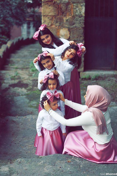 family, hijab, and dress image