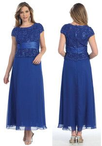 Royal Blue Formal Modest Mother Of The Bride Groom Dress Evining Size L Fit 10
