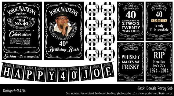 Jack Daniels Party Set. This personalised printable party set is available for order directly through me as Jack Daniels removed it from Etsy. Cost is $25. I will send you a low quality proof prior to payment and once payment is received (I do accept Paypal), I will send high quality file. Please email me (clairemagee1@hotm...) all info needed for this ie. Full Name & Age of birthday person. Photograph for photo poster. Date and Venue of party. RSVP Date and contact info.