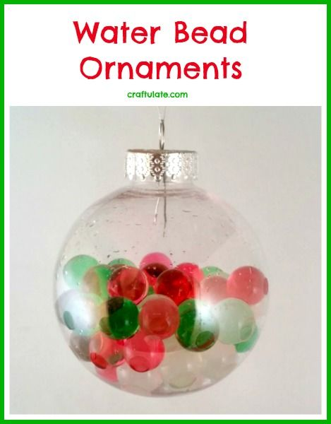Water Bead Ornaments for kids to make. Great fine motor practice!