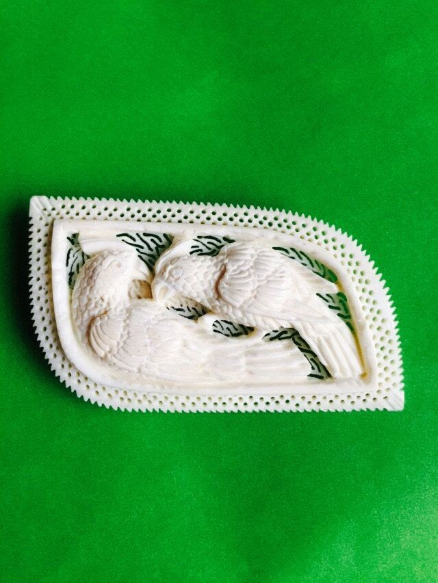 Vintage Ivory Brooch with Carved Birds by VintageVixens1 on Etsy