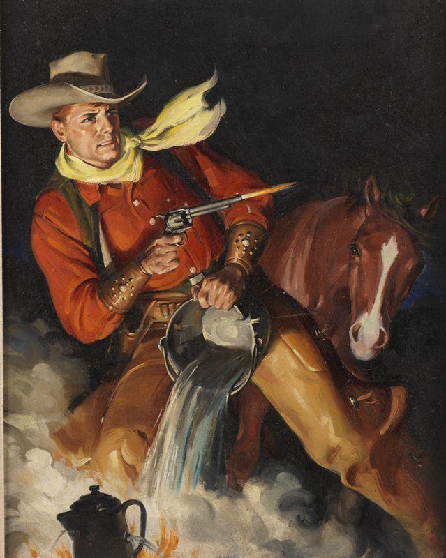 George Rozen (1895-1973) Cover for Range Riders MAgazine, March 1950   Taraba Illustration