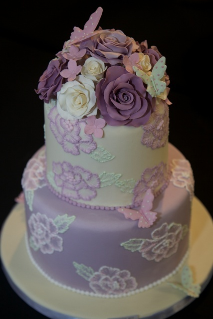Pale Pink Green And Lilac Floral 2 Tier Cake Cakes