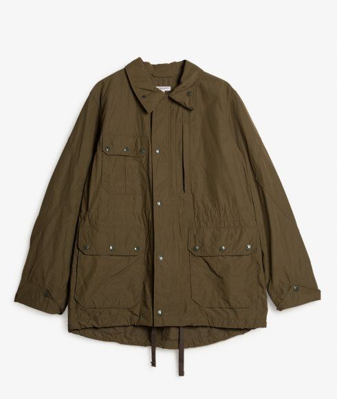 The Field Jacket by Engineered Garments is made in New York from a Cotton,Nylon blend fabric and features multi pocket front, drawstring waist and hem, zip through front with snap fasten storm flap, rear zipped poacher pocket and two rear flap pockets with snap button closure.