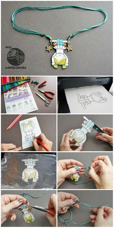 DIY Shrink Plastic Kids Trapeze Necklace Template and Tutorial. By Gloria Fort.