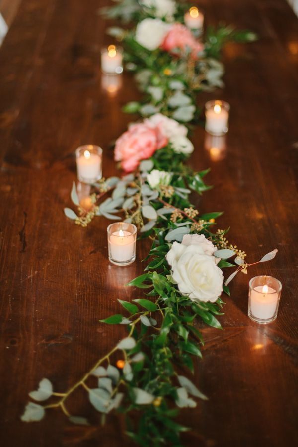 Greenery table runner. Eucalyptus table centerpieces. Wedding at The Cordelle in Nashville, Tennessee.