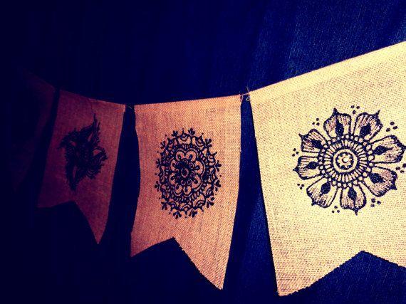 Set of 5, Henna Mehndi Small Mandalas Burlap Jute Prayer Flags Pennants Bunting with Sequins  www.facebook.com/behennaed www.cafepress.com/behennaed  tags: Home & Living  Home Décor  Wall Décor  Wall Hangings  henna  mehndi  mandala  gold  burlap  jute  India  Morocco wedding  kitchen  bedroom  tribal  yoga