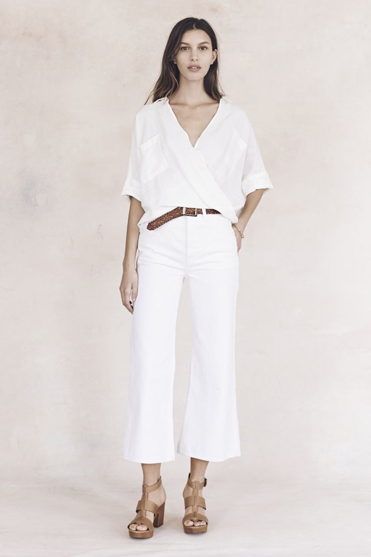 your sneak peek at madewell's spring 2016 collection: white short sleeve blouse, woven belt, white wide leg cropped pants + leather heeled sandals. pre-order your favorites now by calling 866-544-1937 (434-385-5792 for our international friends) or email shopfirst@madewell.com to get first dibs  #everydaymadewell
