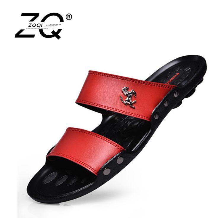 Hot Sale Sandals Men Shoes Summer Slippers Men PU Leather Sandals Black Beach Slippers 2017 Sandalias Hombre Zapatos Hombre #Affiliate