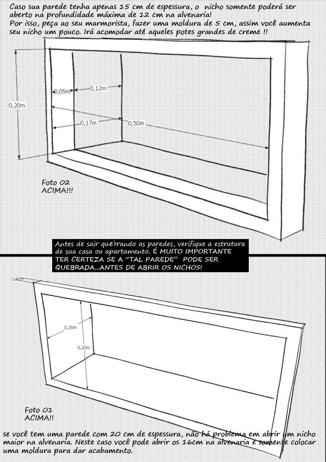Medidas para nicho banheiro embutido na parede.