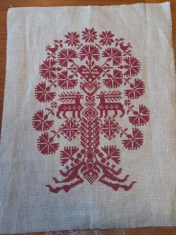 Christmas embroidery on linen by Larettacollections on Etsy