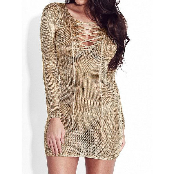 Gold Metallic Lace-up Front Long Sleeve Bodycon Dress (£14) ❤ liked on Polyvore featuring dresses, laced up dress, metallic cocktail dress, see through dress, metallic bodycon dress and metallic dress
