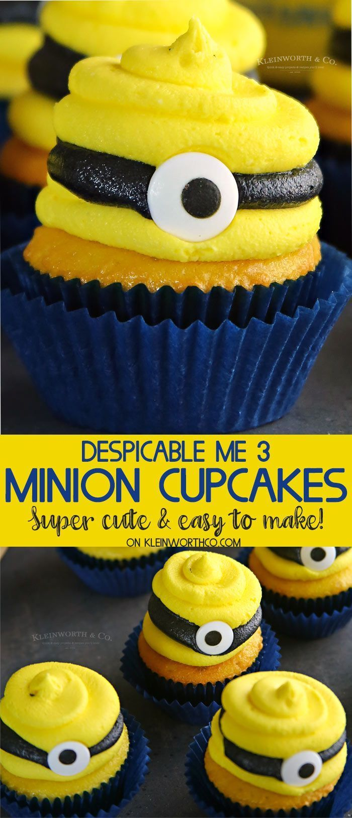 Despicable Me 3 Minion Cupcakes are the perfect for celebrating the release of the Despicable Me 3 Movie or hosting a Despicable Me themed party. Fun! via @KleinworthCo