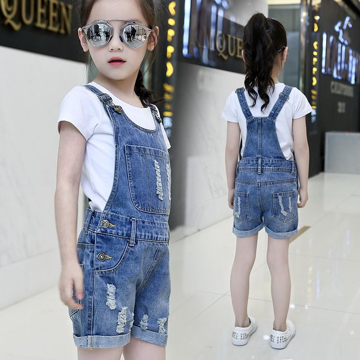 Girls Outfits Summer Clothing Sets For Girls Tees & Overalls Cotton White T-Shirts For Girls Denim Pants Shorts Jeans