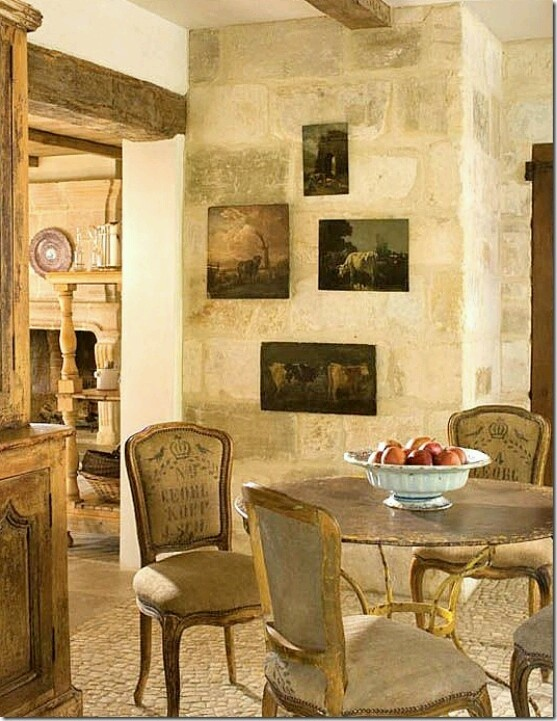 Décor De Provence: French Home  Love The Table And The Yellow Shelving