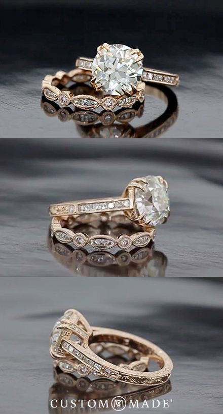 Plan ahead and pick the perfect wedding band to go with your engagement ring. For more ideas see our custom ring gallery: www.custommade.com/gallery/custom-engagement-rings/
