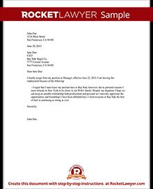 Sample Letter of Resignation Form Template