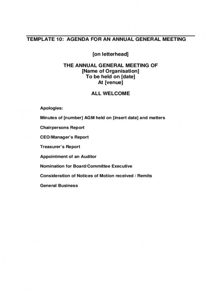 Editable Annual General Meeting Agenda Template 8 Free Templates In Annual Board Meeting Age Agenda Template Meeting Agenda Template Meeting Agenda