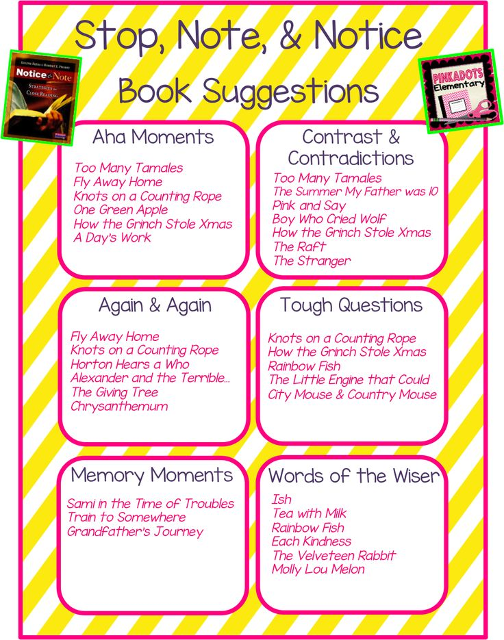 Pinkadots Elementary : Stop, Note, & Notice Book Suggestions!