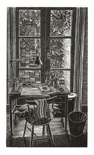 """""""Pam's Desk"""", by Andy English. Wood engraving."""