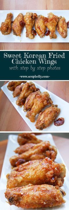 Sweet Korean Fried Chicken Wings are so delicious and crispy because they are dusted with a cornstarch/flour mixture (no liquid) and double-fried. #koreanfoodrecipes