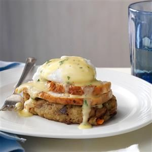 Turkey & Stuffing Eggs Benedict Recipe -This is a fun way to enjoy holiday leftovers as if presenting them for the first time. Serve for brunch, with champagne and cranberry juice. — Brittany Allyn, Nashville, Tennessee