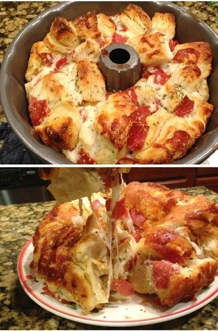 Pizza Bread Recipe 2 Cans of Pizza Dough or Biscuits; - 2 cups Mozzarella cheese (or what ever cheese you like); - 2 table spoons of parsley flakes; - 1/3 cup olive oil; - 1-8 package of pepperoni; - 1 cup of Parmesan cheese.